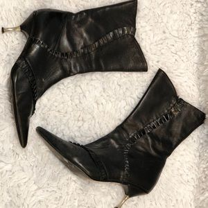 Shoes - Ruffle Leather Bootie